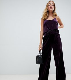 high waisted velvet cropped pants-Purple