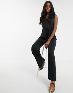 ribbed wrap jumpsuit in black
