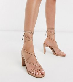 Exclusive Adali vegan ankle tie heel sandals in blush-Beige