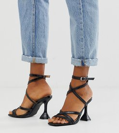 Exclusive Aleta black croc strappy sandals with statement heel