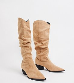 Exclusive Alma vegan slouch knee boots in sand suede-Beige