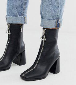 Exclusive Aylen black zip front heeled ankle boots with square toe