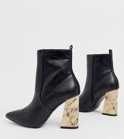 Exclusive Chloe black marble heeled ankle boots