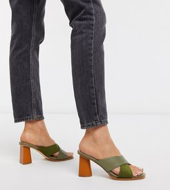 Exclusive Lulah vegan wood effect heeled mules in sage green mix