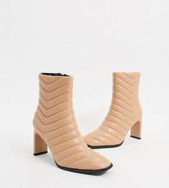 Exclusive Misha vegan padded heeled ankle boot in beige-Tan