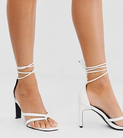 Exclusive Monika white square toe ankle tie heeled sandals