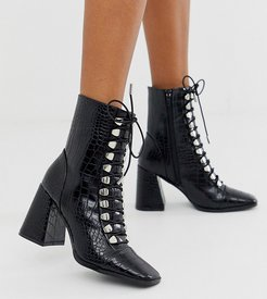 Exclusive Naara black croc effect lace up heeled ankle boots with square toes