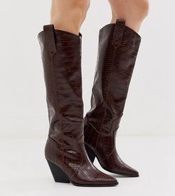 Exclusive Nuria chocolate croc knee high western boots-Brown