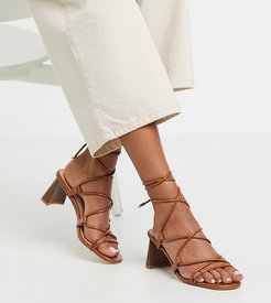 Exclusive Orlena vegan stacked heel ankle tie sandals in tan