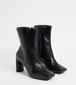 Exclusive Reese vegan square toe boots in black croc
