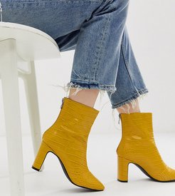 Exclusive Sanaa yellow croc effect heeled ankle boots