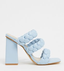 Exclusive Tasha vegan heeled mule sandals in pale blue braid