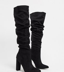 Exclusive Vanda vegan-friendly slouch knee boots in black