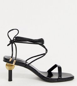 Hila ankle tie sandals with statement heel in black