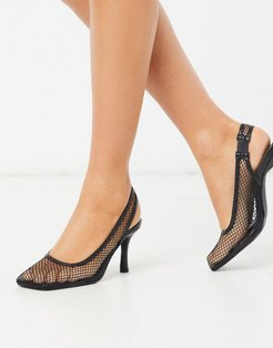 Ibna mesh square toe heeled shoes in black