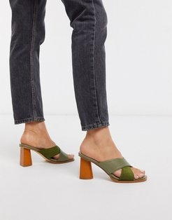 Lulah wood effect heeled mules in sage green mix