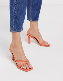 Malika strappy square toe sandals in coral-Orange
