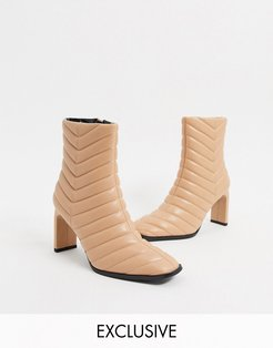 Misha padded heeled ankle boot in camel-Tan