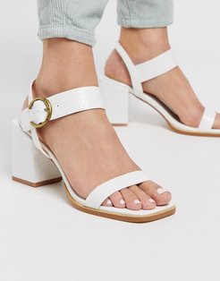 Oni block heeled sandals in white croc