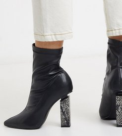 Raja statement snake heel boot in black