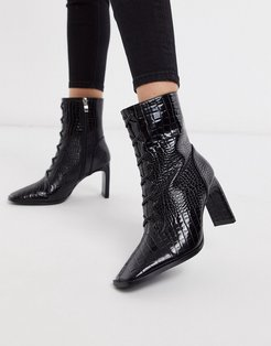 Taja lace up heeled ankle boot in black croc-White