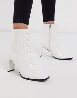 Taja lace up heeled ankle boot in white croc