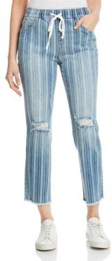 Tie-Waist Striped Ankle Jeans in Blue Barcode