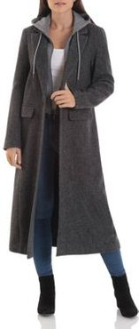 Wool-Blend Maxi Coat with Knit Hoodie