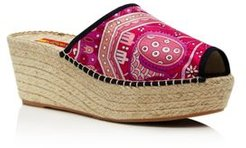 Printed Wedge Heel Espadrille Sandals