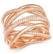 Diamond Crossover Ring in 14K Rose Gold, 0.40 ct. t.w. - 100% Exclusive