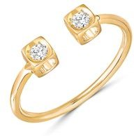 18K Yellow Gold Le Cube Diamant Open Ring with Diamonds