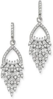 Diamond Feather Drop Earrings in 14K White Gold, 1.50 ct. t.w. - 100% Exclusive