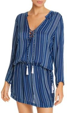 Chloe Horizon Striped Tunic Swim Cover-Up