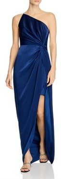 One-Shoulder Draped Charmeuse Gown - 100% Exclusive