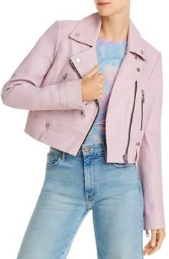 Cropped Leather Moto Jacket - 100% Exclusive
