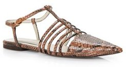 Tunit Snake-Embossed Pointed Toe Sandals