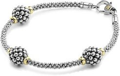 Sterling Silver Bracelet with Caviar Stations