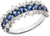 Blue Sapphire & Diamond Ring in 14K White Gold - 100% Exclusive