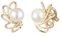 Caged Spray Cultured Freshwater Pearl Clip-On Earrings
