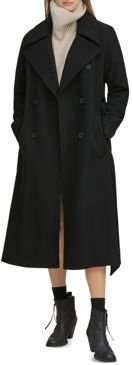 Sculpted Twill Double-Breasted Button-Front Coat