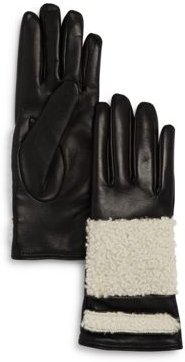 Shearling-Trim Leather Gloves - 100% Exclusive