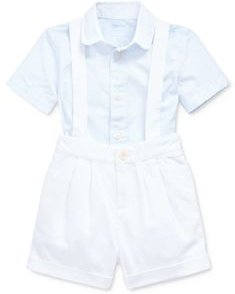 Boys' Cotton Poplin Stripe Button-Down Shirt & Textured Dobby Overalls Set - Baby