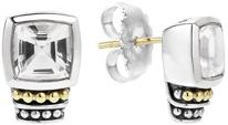 18K Gold and Sterling Silver Caviar Color Stud Earrings with White Topaz