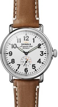 The Runwell Tan Leather Strap Watch, 41mm