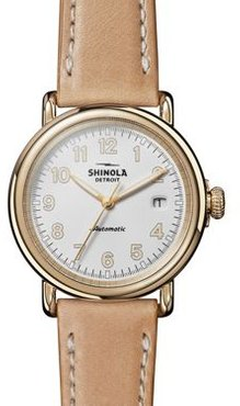 The Runwell Tan Leather Strap Automatic Watch, 39.5mm
