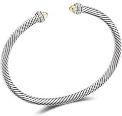 Sterling Silver & 18K Yellow Gold Cable Classic Bracelet with Diamonds