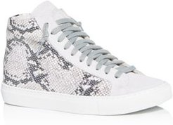 Star2.0 Silver Python-Embossed High-Top Sneakers