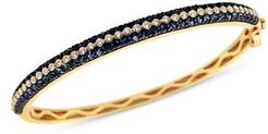 Blue Sapphire and Diamond Bangle Bracelet in 14K Yellow Gold - 100% Exclusive