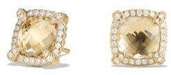 Chatelaine Pave Bezel Stud Earrings with Champagne Citrine and Diamonds in 18K Gold