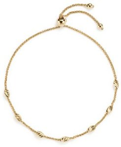 14K Yellow Gold Beaded Wheat Chain Bracelet - 100% Exclusive